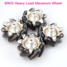 60KG 4pcs Heavy Load 3inch Steel Mecanum Wheel Universal Omnidirectional Wheel for Large Load Robot Handling, Transport Car Move