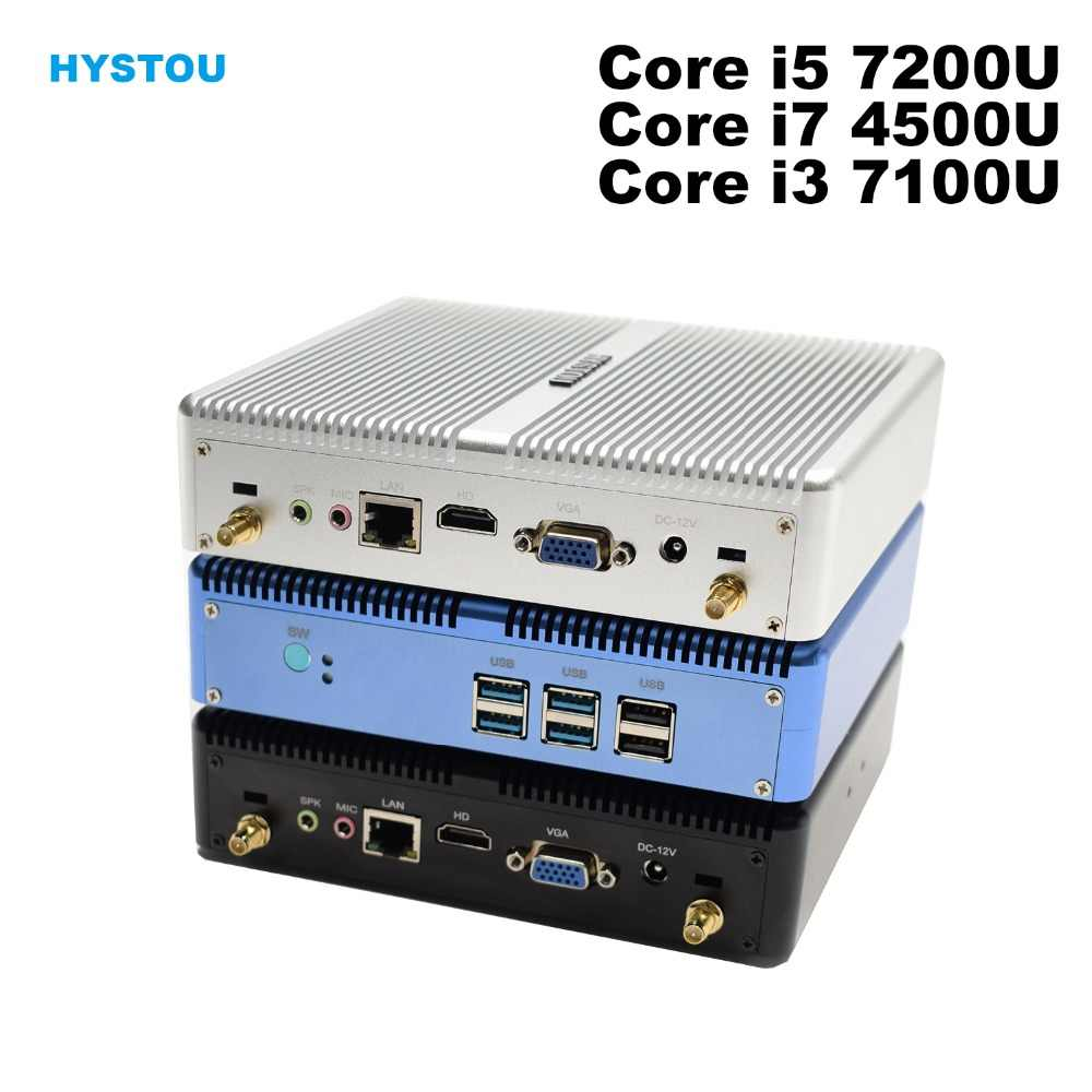 Core I5 7200U I7 5550U Hystou Mini PC Windows 10 HDMI VGA Dual Display Port Mini HTPC Mini Komputer Linux i3 7100U 4K TV Box PC