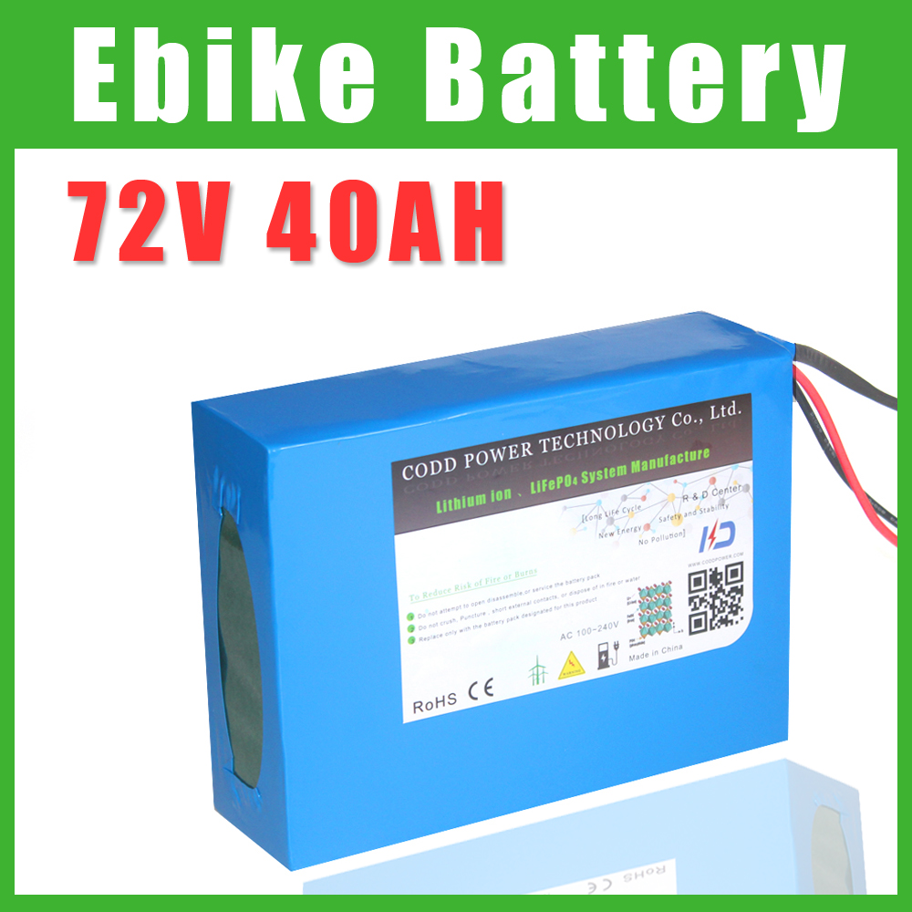 No hay impuestos 72V 60Ah 100AH de iones de litio para bicicleta eléctrica batería 3000W 5000W eléctrico batería de Scooter con 100A BMS 84V 5A cargador