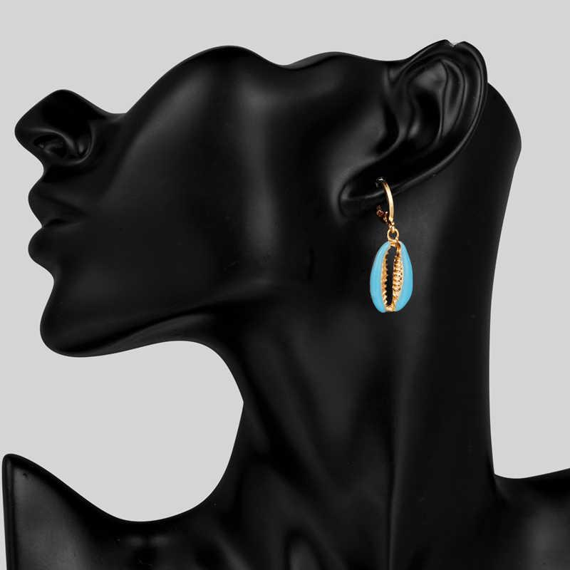2019 ต่างหูผู้หญิงสำหรับเพื่อน Bohemian Seashell ชุดต่างหูสำหรับ Party เรขาคณิตต่างหูเครื่องประดับต่างหูเคลือบแหวน