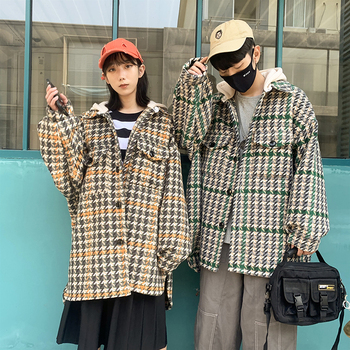 2019 Winter New Korean Version Of European And American Style Casual Loose Lattice Hooded Thick Section Coat
