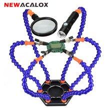 NEWACALOX ที่สามมือ Soldering PCB เครื่องมือหกแขนช่วยมือด้วยแว่นขยายเลนส์ชาร์จ USB Mini LED ไฟฉาย