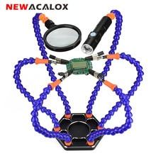 NEWACALOX Third Hand Löten PCB Halter Werkzeug Sechs Arme Helping Hands mit Lupe Objektiv USB Ladung Mini LED Taschenlampe