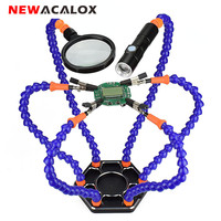 NEWACALOX Third Hand Soldering PCB Holder Tool Six Arms Helping Hands with Magnifying Glass Lens USB Charge Mini LED Flashlight