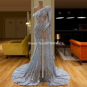 Image 1 - מבריק 2020 בציר נדן שמלת ערב באורך רצפת חרוזים פאייטים פורמליות שמלת חלוק דה Soiree Aibye Vestido דה festa דובאי