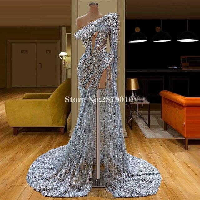 Brilliant 2020 Vintage Sheath Evening Dress Floor Length Beaded Sequins Formal Dress Robe De Soiree Aibye Vestido de festa Dubai