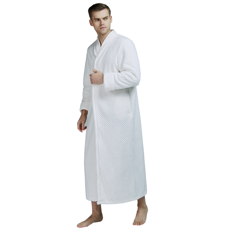 Men Sleepwear Robe Kimono Gown Casual Flannel Warm Solid Soft Full Nightgown Nightwear Zipper Homewear Long Bathrobe Gown