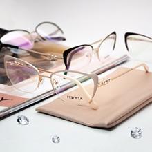Fashion Women Brand Designer Cat's Eye Glasses Half Frame Cat Eye Glasses Women Eyeglasses Frames High quality LZ недорго, оригинальная цена