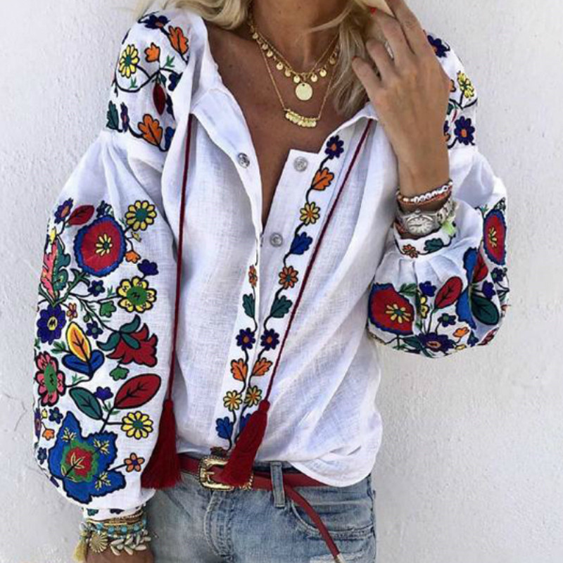 Fall Spring Women V Neck Puff Sleeve Loose Blouses Fashion Long Sleeve Shirt Top Floral Print Beach Casual Button Blusas Clothes
