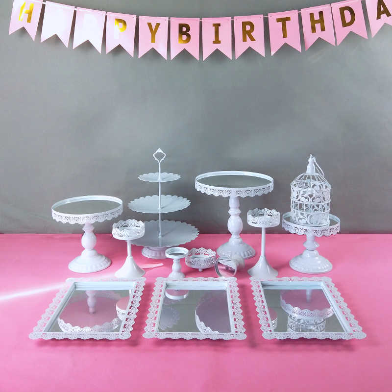 Support de support de gâteau de mariage en métal blanc 6- 16 pièces/ensemble support de Cupcake présentoir de service décoration de fête d'anniversaire