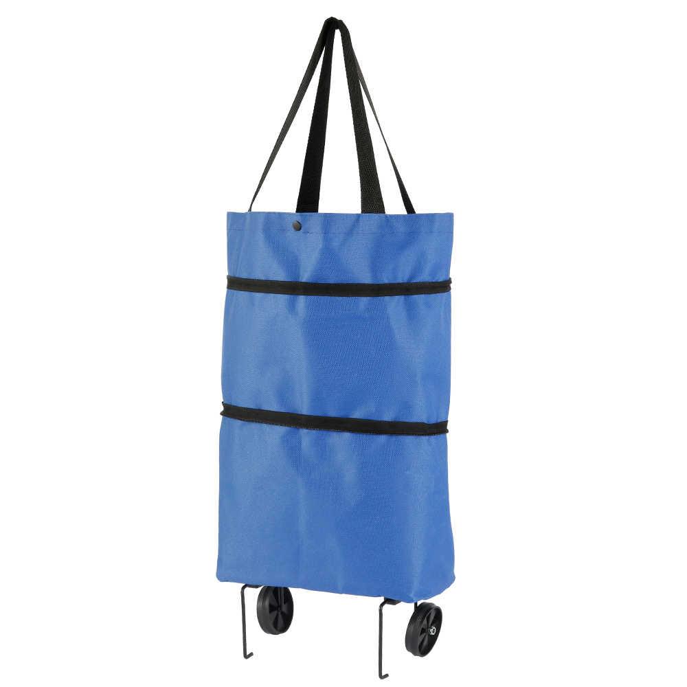 طوي حقيبة تسوق أكسفورد القماش كيس قابلة لإعادة الاستخدام لعربة التسوق على عجلات المحمولة المتسوق حقيبة للطي حمل أكياس البقالة الأزرق