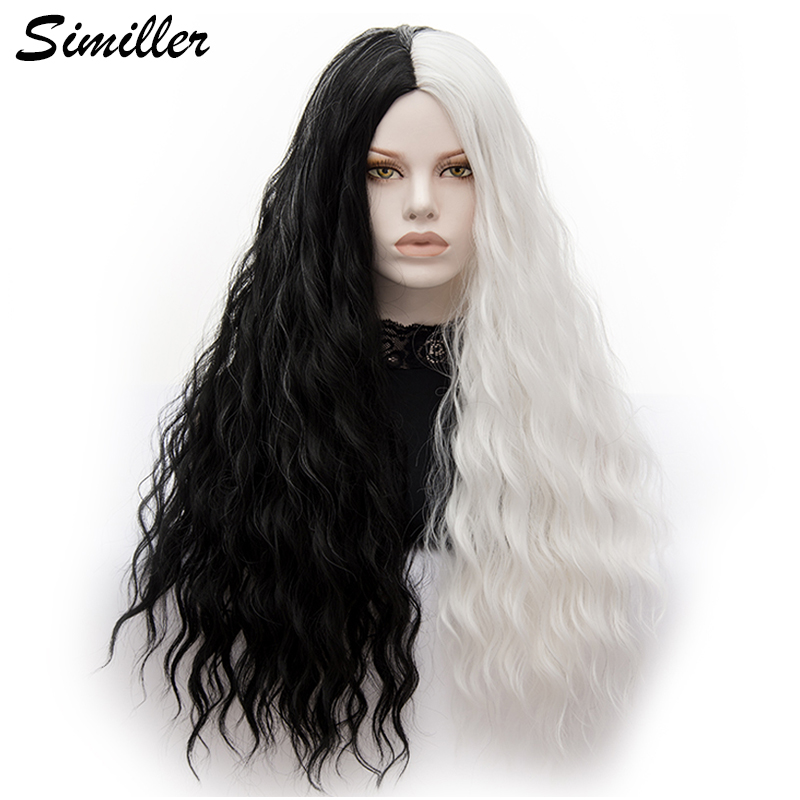 Similler Women Kinky Straight Long Synthetic Wigs Black White Mixed Colors For Party Halloween Cosplay Heat Resistance