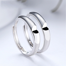 Genuine S925 sterling silver heart-to-heart couple ring fashion simple heart-shaped opening men and women ring цена 2017