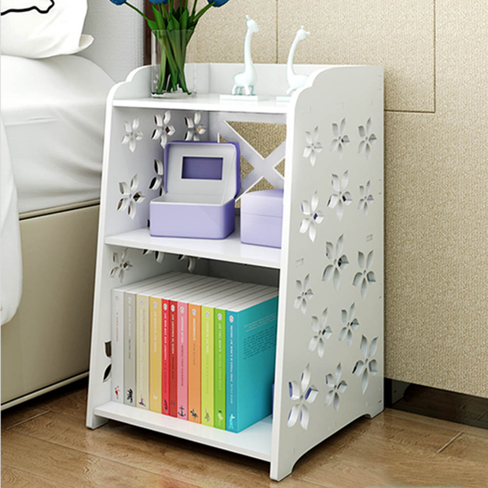 3 Tier Modern Bedside Table Bedroom Bed Cabinet  Wooden Corner Shelf  Simple Hallway Table Rack