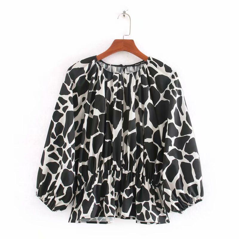 2020 Women Vintage Graffiti Print Casual Smock Shirts Blouses Office Lady Lantern Sleeve Roupas Femininas Blusas Tops LS6458