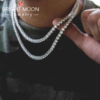 Bright Moon Zircon necklace hip hop Necklace jewelry single chain man necklace tennis 4 mm 5 mm chain