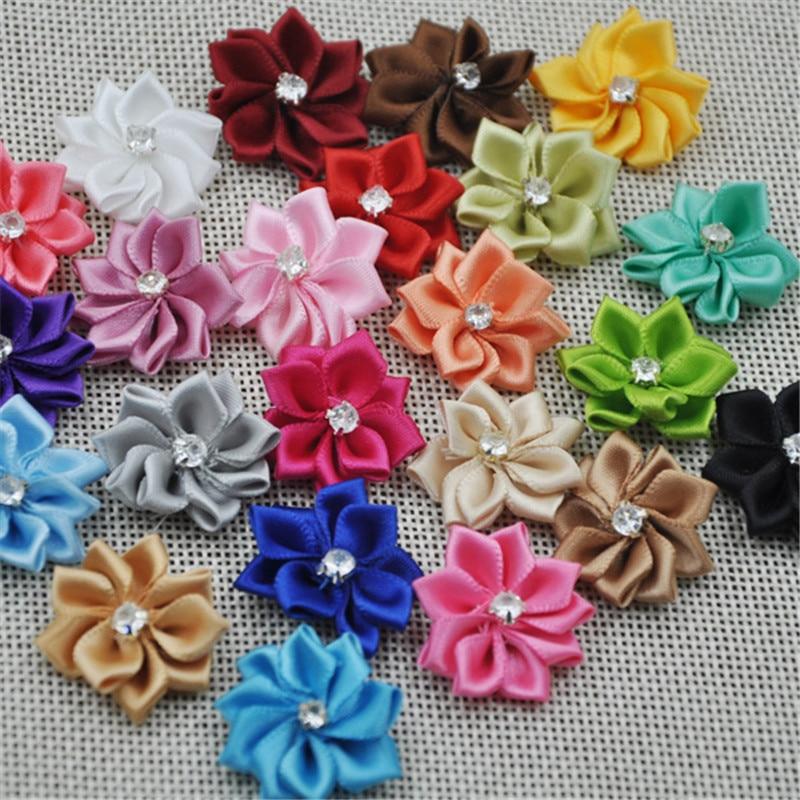 60pcs Satin Ribbon Flower Rose Bow sewing wedding appliques U pick A139