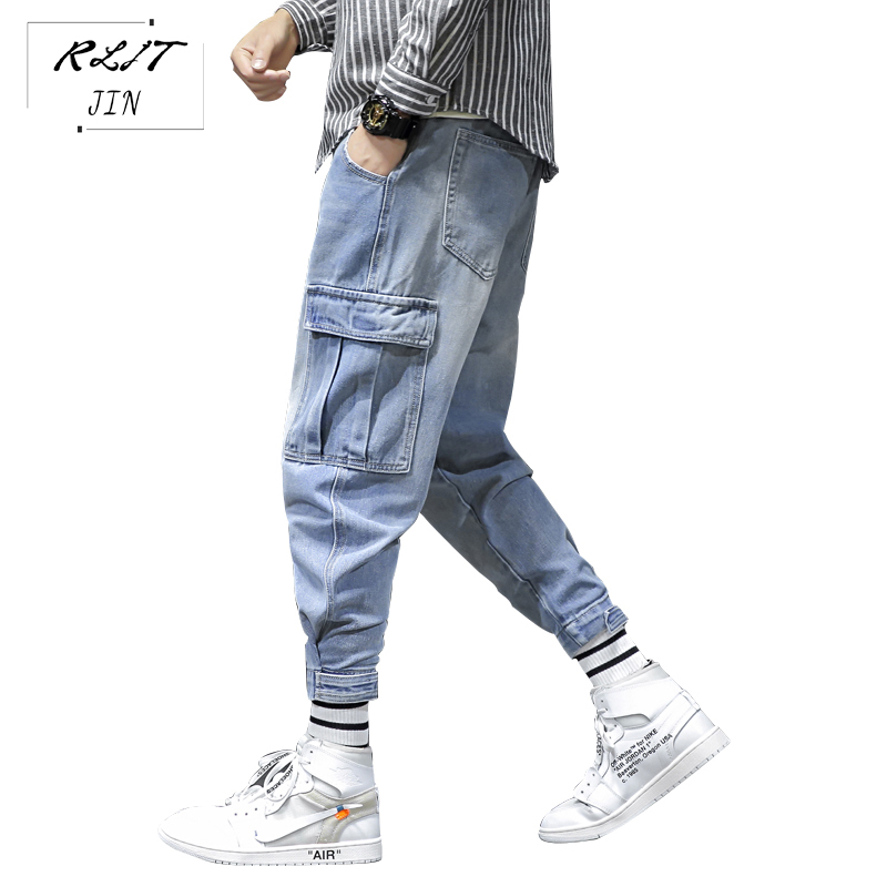RLJT.JIN Trend Direction 2019 New Spring High Street Casual Mens Pencil Pants Japanese Side Pocket Solid Color Fashion Men Jeans