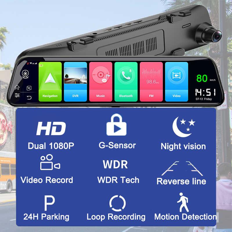 Dual 1080P Dash Cam 4G 12 Inch Dòng Truyền Thông Android Gương Gương Chiếu Hậu Ô Tô Dvr Xe Ô Tô ADAS Siêu đêm Trước Và Sau Khi FHD
