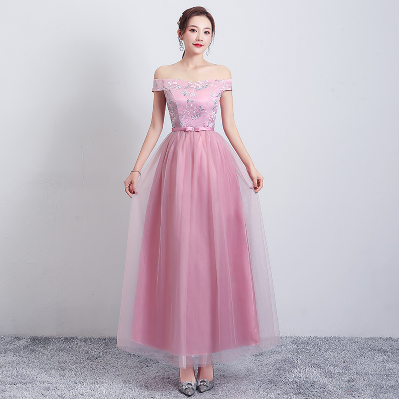 Embroidery Off The Shoulder Elegant Dress Women For Wedding Party Vestido Azul Marino Pink Plus Size Bridesmaid Dress Sexy Prom