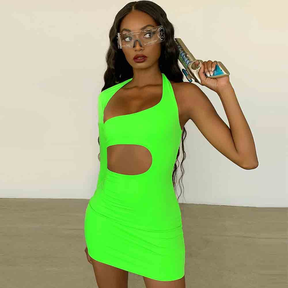Ocstrade 2020 Summer New One Shoulder Dress Bandage Green Bodycon Bandage Party Sexy Cut Out Celebrity Evening Party Dress