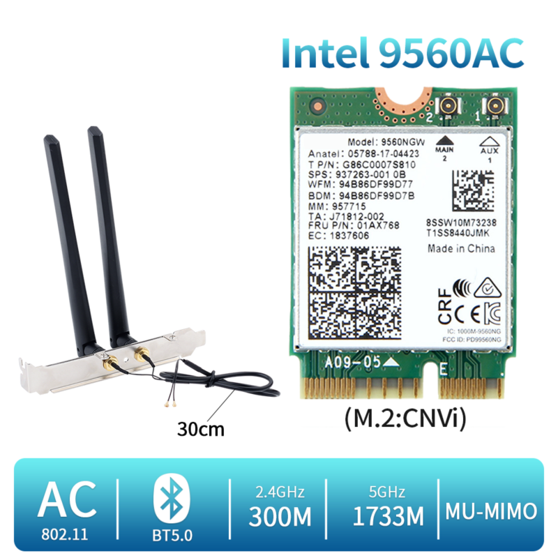 1730Mbps For Intel Dual Band Wireless AC 9560 Desktop Kit Bluetooth 5 0 802 11ac M 2 CNVI 9560NGW Wifi Card With Antenna