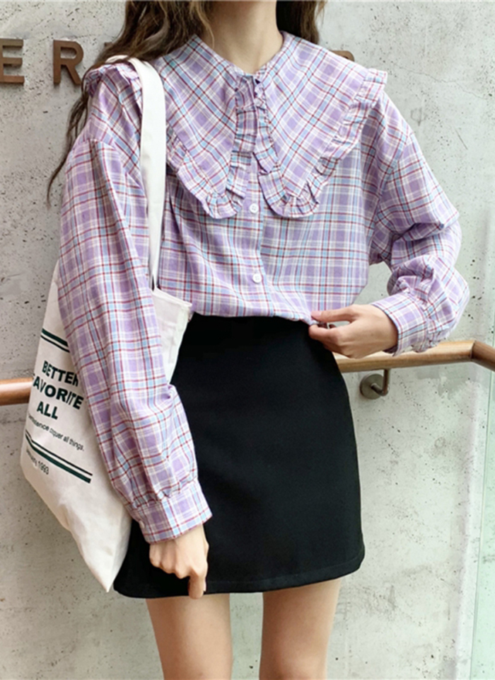 Z 2019 Women Cotton Plaid Shirt Long Sleeve Blouse Ladies Vintage Loose Doll Collar Trumpet Sleeve Womens Tops And Blouses