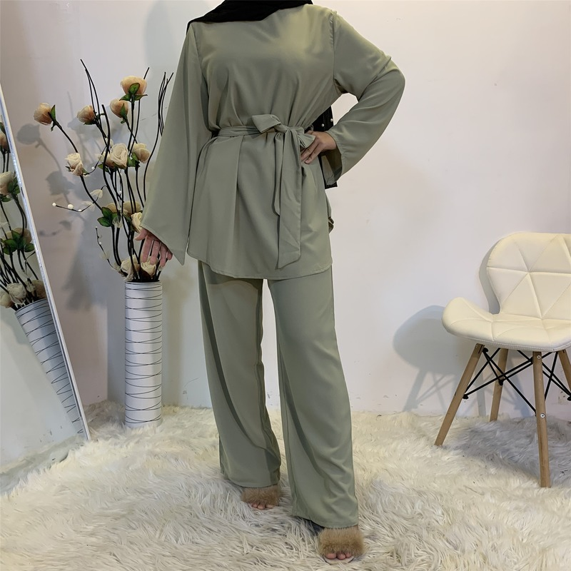 Eid Mubarak Kaftan Dubai Turkey Muslim Fashion Hijab Dress Sets Islam Clothing Abayas For Women Musulman Ensembles De Mode