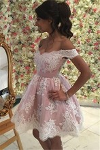 Новое поступление мини-розовый одно плечо линии платья возвращения на родину кружева аппликации короткое коктейльное платье 2020 девушек платья партии