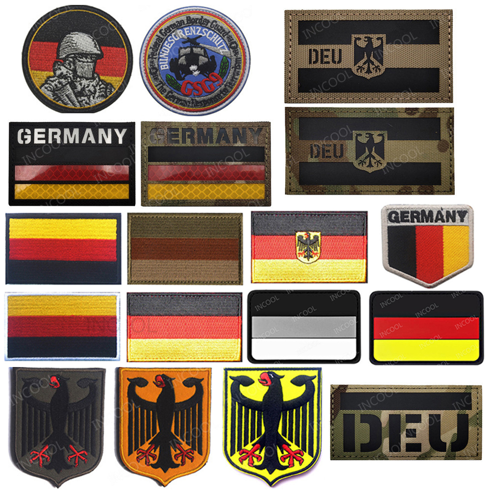 3D Germany Flag Infrared IR Reflective Embroidered Patches Deutschland German Military Patches Tactical Eagle Embroidery Badges