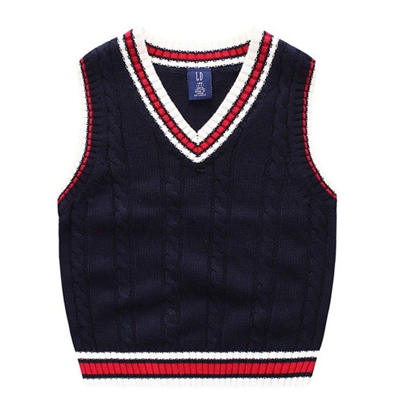 Autumn And Winter School Uniform Vest Boy Knitted Sweater Boy Sweater Autumn Children's Sleeveless Vest 4