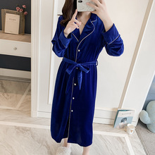 Spring autumn thin women #8217 s sexy blue velvet pajamas casual homewear bathrobe long sleeves long robe morning gown loose robe cheap DIDUQIPAO Polyester Solid Full Robes Mid-Calf Satin FengZhongHuang1129 M L XL Same As The Picture Show V-Neck Summer Home Wear Sleep
