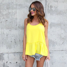 Hot Selling Ruffles Long Sexy Mermaid Top Solid Color Spaghetti Strap Cami Summer Clothes Women