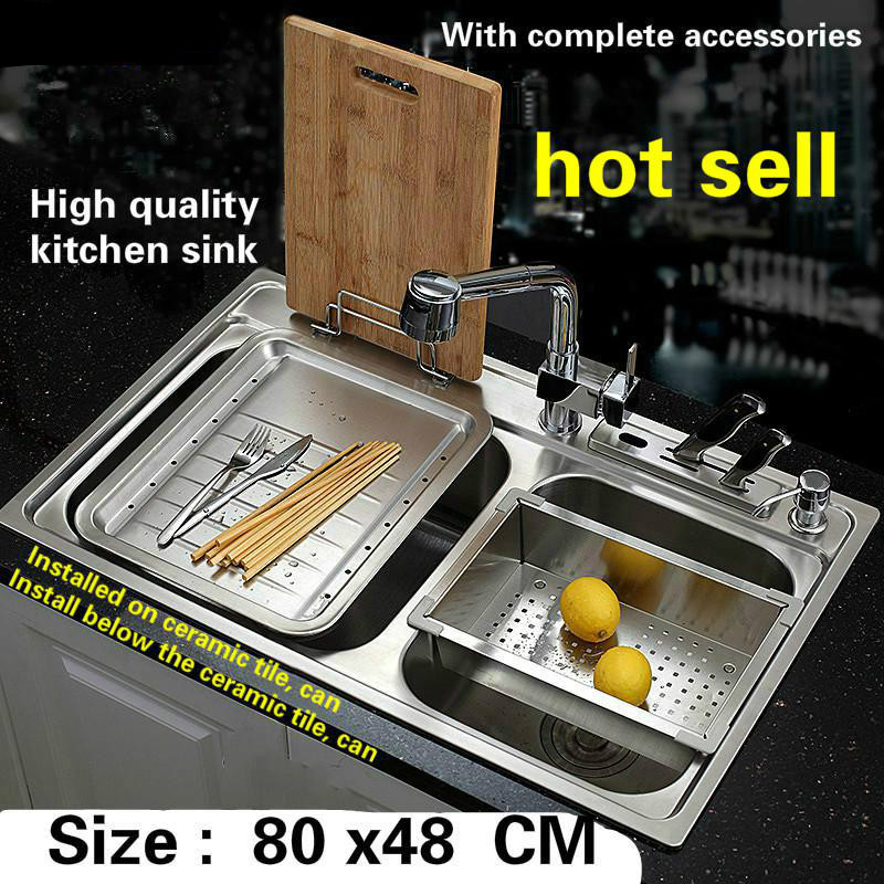 Free Shipping Luxurious Kitchen Sink 0.8 Mm Thick Food Grade 304 Stainless Steel Large Double Groove Hot Sell 800x480 MM