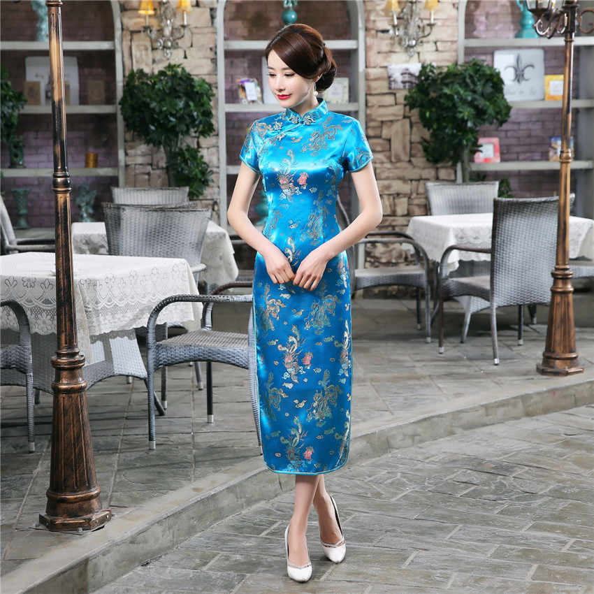 17 colores Cheongsam chino tradicional boda Qipao mujer bordado elegante vestido con abertura femenino ceñido vestido Floral Cheongsam