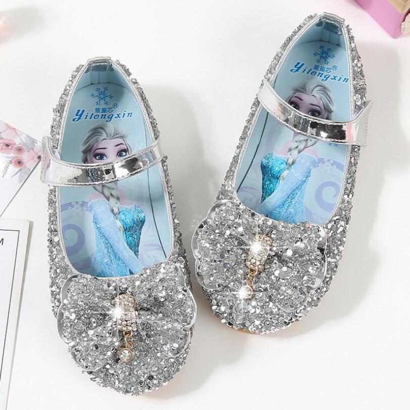 Girls Fashion Shoes Elsa Princess Shoes Kids Elegant Dance Party Wedding Shoes Chaussure Enfants Blue Pink Silver Cosplay