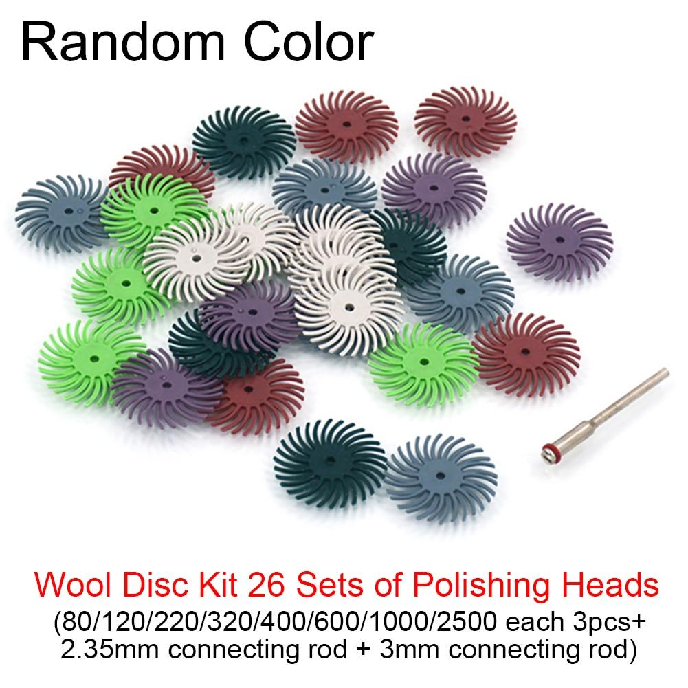 24pcs Dremel Accessories Radial Bristle Abrasive Brush Polishing Buffing Wheel Mixed Grit +2pcs Mandrel For Rotary Tools D9