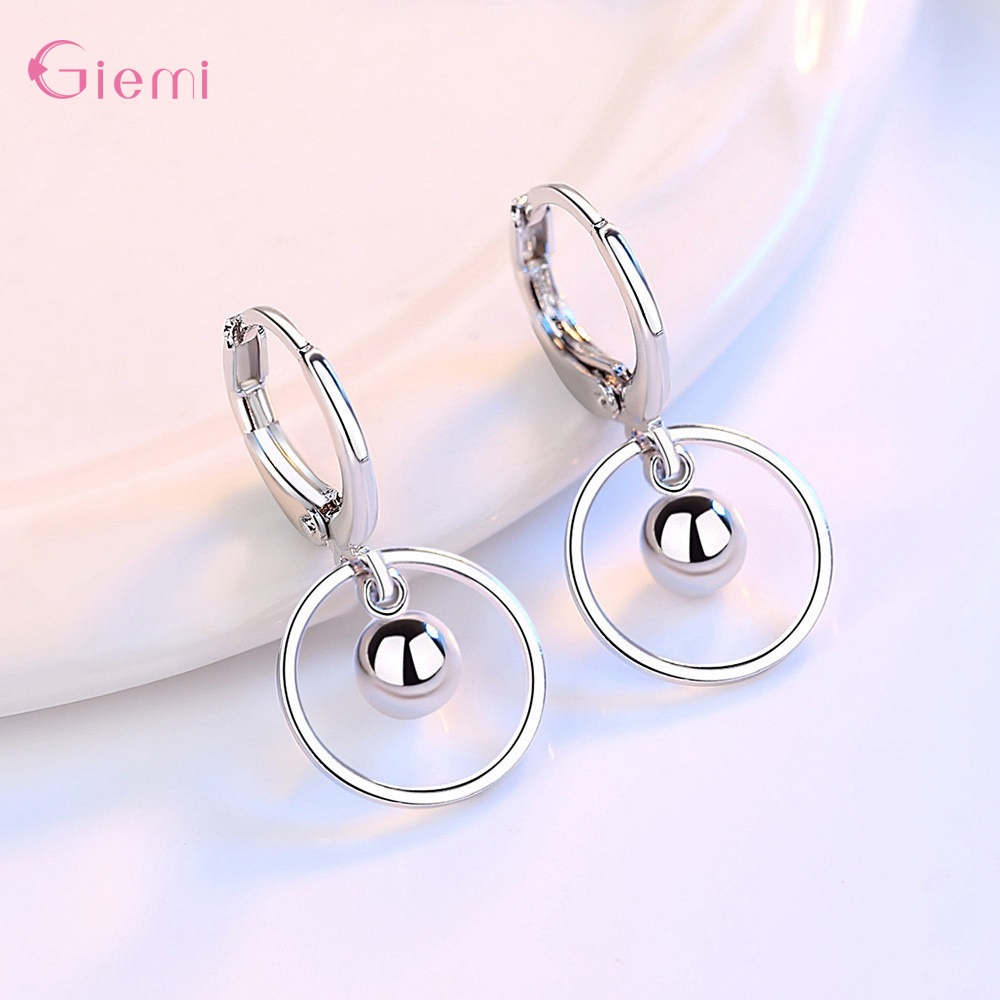 New Fashion 925 Sterling Silver Water droplet Earring for Women Girl Circle Dangle Earrings Jewelry Brincos Gift 3