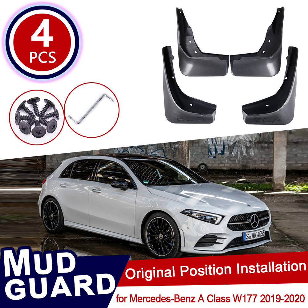 4pcs for <font><b>Mercedes</b></font> Benz <font><b>GLA</b></font> Class W156 2014~2019 180 200 220 250 260 <font><b>45</b></font> <font><b>AMG</b></font> Car Mud Flaps Front Rear Mudguard Splash Accessories image