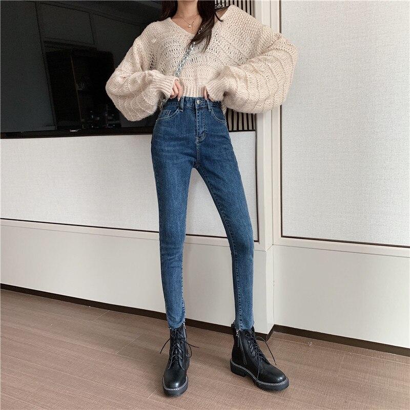 Autumn Winter Minimalist Women Denim Skinny Stretch Fake Front Pocket Medium Waist Washed Blue Slim Elastic Lady Jeans 8891