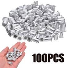 100 шт/компл стальные алюминиевые заклепки с резьбой гайки вставки