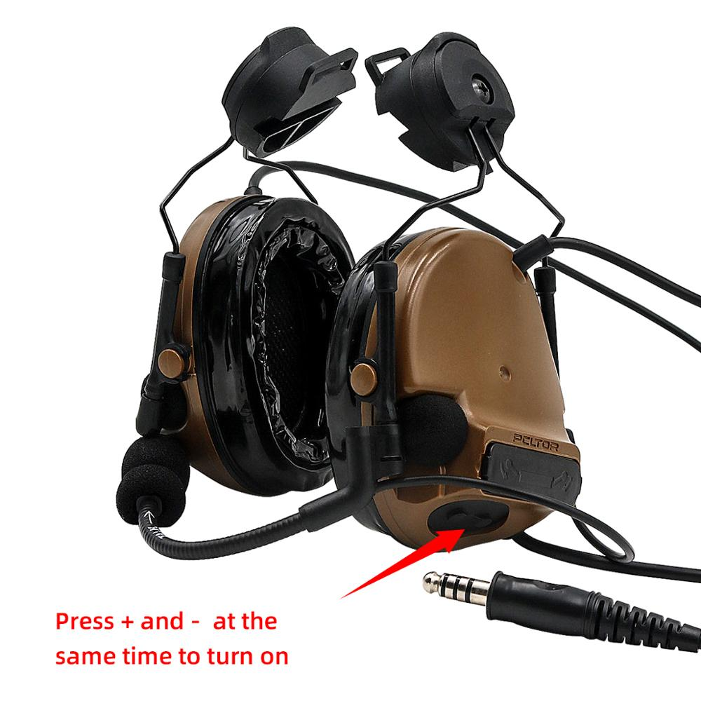 COMTAC III TAC-SKY-Casco COMTAC iii, orejera de silicona con soporte para pistas rápidas, versión reductora de ruido, auriculares tácticos C3CB Orejera electrónica táctica para disparar, auriculares antiruido, protección auditiva amplificación de sonido, auriculares plegables, triangulación de envíos