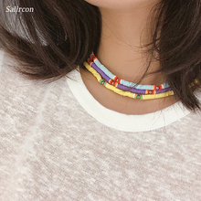 Salircon Exquisite Soft Pelt Alloy Bead Clavicle Choker Necklace Women Colored Purple Cute Blue Light Chain Gift 2019