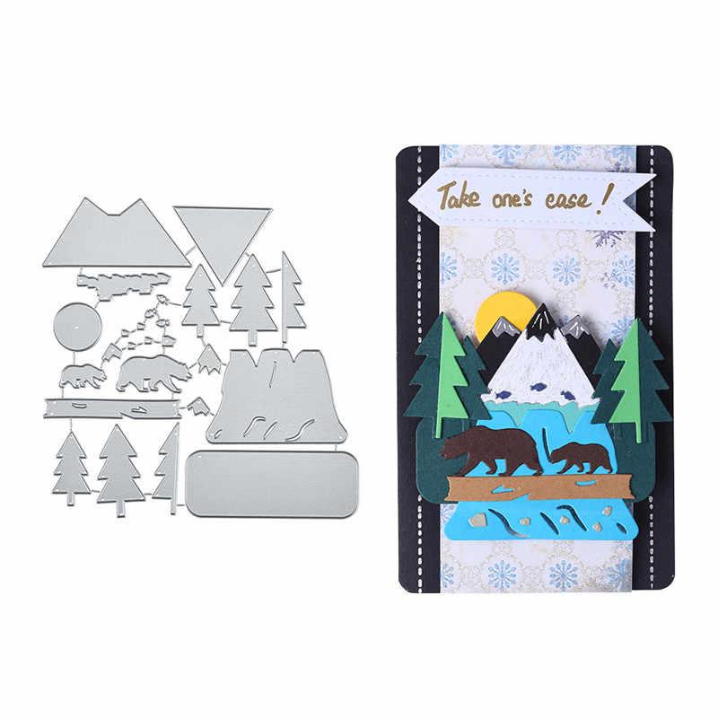 DiyArts الدب في الغابات المعادن قطع يموت لصنع بطاقة سكرابوكينغ يموت النقش تخفيضات الاستنسل الحرفية يموت 2019 جديد