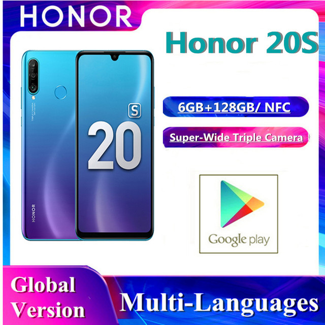 In Stock Honor 20S Huawei Orignal Global Version Smartphone 6GB+128GB Kirin 710 Octa Face Unlock Super Charge Mobile Phone