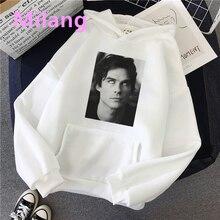 Pamiętniki wampirów bluzy damskie Harajuku dla kobiet swetry z kapturem Damon bluza modny nadruk Casual ladies Streetwear Hoody
