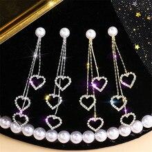 Лидер продаж, милые и темпераментные серьги-подвески с искусственным жемчугом, женские простые серьги с кристаллами