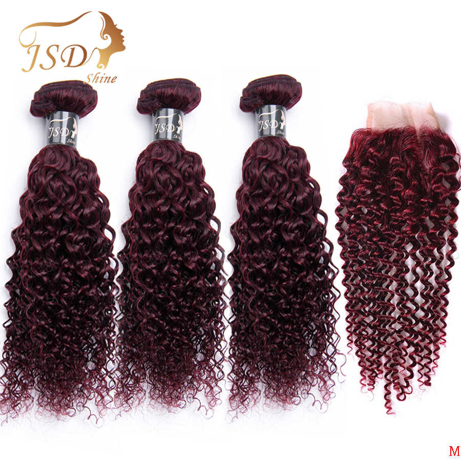 JSDShine Bold Red 99J Brazilian Hair Weave Bundles With Closure Burgundy Kinky Curly Human Hair Bundles With Closure Non-Remy