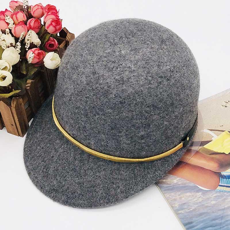 Classical Winter Hats For Women Belt Adorn Ourdoor Warm Wool Visor Hat Newsboy Cabbie Hat Ladies Snow Church Street Cap 55-60cm