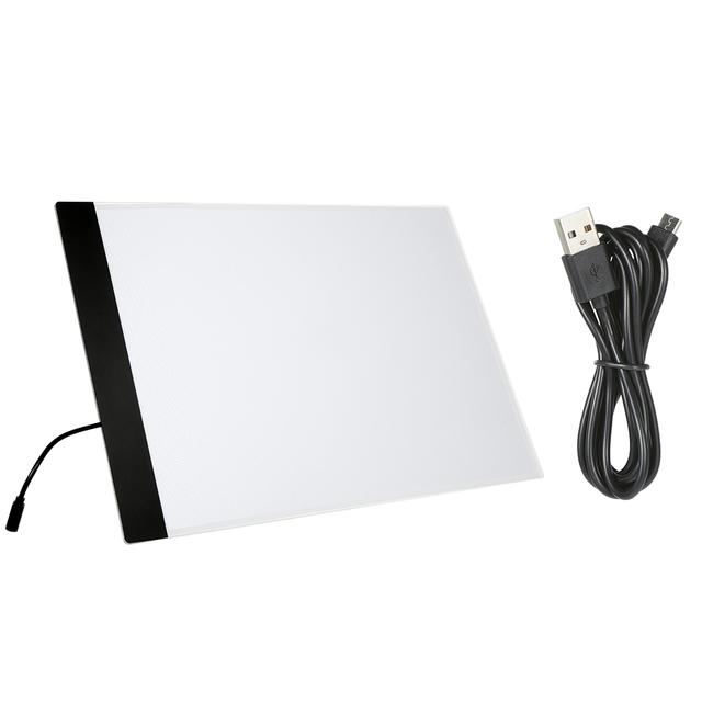 A4 LED Tablet graficzny cyfrowy podkładka graficzna do pisania malowania podświetlana tablica tablica kreślarska oświetlający szkic penetrujący stół tanie i dobre opinie Arealer CN (pochodzenie) Drawing Board Acrylic USB Cable 350g 12 35oz C5995